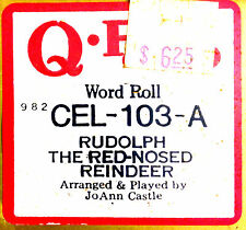 QRS Celebrity RUDOLPH THE RED-NOSED REINDEER CEL-103 J. Castle Player Piano Roll