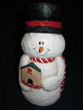 "Eddie Walker Christmas Snowman Candle Holder Candlestick holding Birdhouse 5.5"""