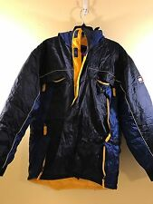 Vtg 90s Tommy Hilfiger 3M Jacket Ski Parka Blue Yellow Hooded Coat Mens Small
