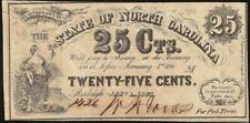 1863 NORTH CAROLINA 25 CENT NOTE CURRENCY OLD PAPER MONEY FRACTIONAL Cr 139