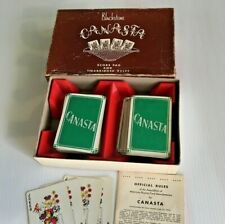 Vintage Blackstone Canasta 2 complete decks Red box GREEN Cards + Rules 1950s