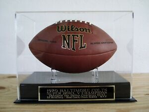 Baltimore Colts Football Display Case With A Super Bowl V Engraved Nameplate