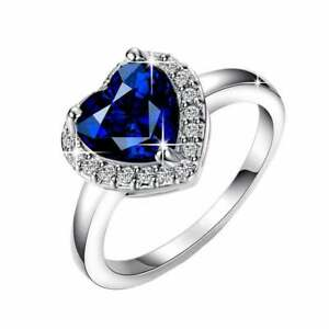 Natural Certified Heart Cut Blue Sapphire Sterling Silver Wedding Ring For Her