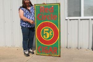 "Large Vintage Red Circle 5c Cigar Tobacco Shop Gas Oil 48"" Metal Sign"
