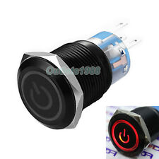 19mm Red LED 12V Black Shell Aluminum Alloy Momentary Push Button Switch 1NO1NC