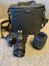 Nikon D3300 Digital Slr Camera w/ 18-55mm and 55-200mm Vr Ii lenses +case