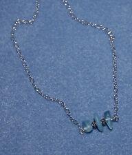 "18"" Bali Sterling Silver Genuine Surf Tumbled Muli Aqua Sea Glass Necklace"