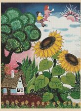 Colorful Sunflower Village Counted Cross Stitch COMPLETE KIT #9-418/3