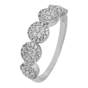 ELEGANT 925 STERLING SILVER RING WITH SIMULATED DIAMONDS #5383