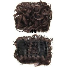 Womens Wave Curly Combs Clip In Hair Bun Chignon Piece Updo Cover Hair Extension