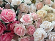 100! Lovely Handmade Mulberry Paper Roses  - Beautiful Pink & White Rose Mix!