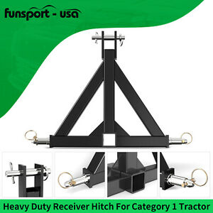 """3 Point Trailer Hitch Tow Drawbar 2"""" Adapter Attachment For Category 1 Tractor"""