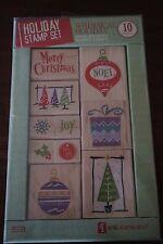 Inkadinkado Holiday Stamp Set Whimsical Holiday Wood Mounted Rubber Stamps 10 Pc