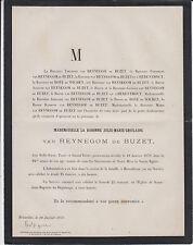 1879 FAIRE-PART DÉCÈS Baronne Julie-Marie-Ghislaine van REYNEGOM de BUZET.