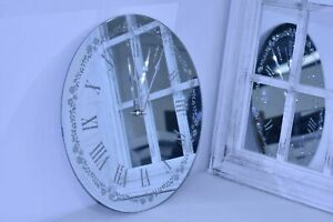 NEW FLOWERY SILVER SPARKLE GLITTER MIRRORED WALL CLOCK ROMAN NUMBER WALL 35CM