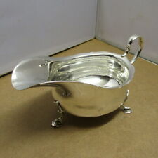 More details for sterling solid silver sauce / gravy boat  sheffield 1908