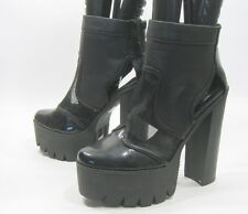 """new Black/See Through 6"""" High Block Heel 2"""" Platform Sexy Ankle Boots Size 8.5"""