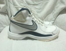 NIKE WHITE BLUE GREY LEATHER BASKETBALL SHOES - ( SIZE 8 ) MEN`S