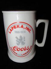 Vintage COORS BEER - Lapeka, Inc. Topeka & Lawrence KS Mug - 1968-1978