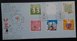2007 Hong Kong Bunny Fun Stamps FDC ties 6 Stamps cd Hong Kong