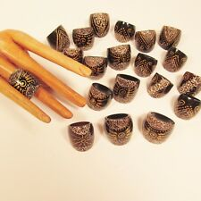 20 Hand Painted Wood Rings Assorted Designs WHOLESALE LOT Free Shipping!