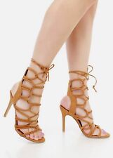 Trend Lace Up Caged Stiletto High Heel Open Toe mid Calf Gladiator Sandals G13