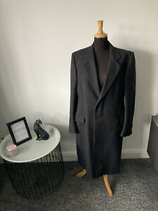 Men's Harrods wool overcoat - UK 52R - Dark Slate Grey Black Colour