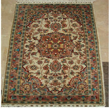 Exclusive Medallion Flowers Area Rug Hand Knotted Wool Silk Carpet 4' x 2.6'
