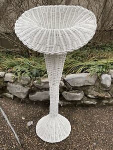 White Wicker Trumpet Shape Victorian Style Cut Flower Standing Vase Porch
