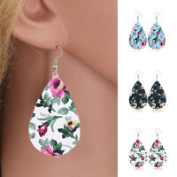 Women Unique Floral Print Teardrop Leather Dangle Ear Earrings Hook Jewelry Gift