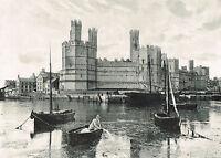 Carnarvon Castle Wales 1900 Single Sided Antique Print Picture #349 Caernarfon