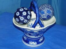 BLUE WILLOW PORCELAIN BASKET,HANDLE AND 3 BLUE WILLOW PORCELAIN BALLS