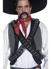 Mens Mexican Bandit Fancy Dress Bandolier Bullet Belts Leather New by Smiffys