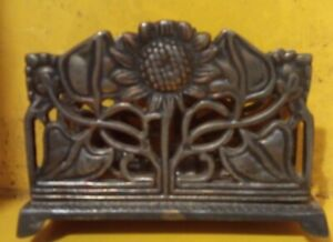 Vintage art nouveau  brass letter rack sunflower Made In India Indian Handcraft