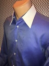 Men's Zilli Button Front Long Sleeve Blue and White Shirt 100% Cotton 39-15.5