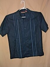 CUBAVERA, MEN'S SHIRT, M, EMBROIDERED, BUTTON FRONT, BLACK