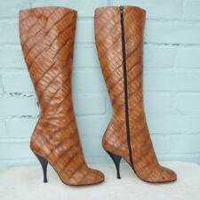 Gina Leather Boots Size Uk 5.5 Eur 38.5 Sexy Womens Croc Stiletto Brown Boots