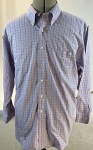 Brooks Brothers Men's Dress Shirt 16.5 x 33 Purple Blue Plaid