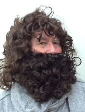 BROWN WAVY MEN'S FANCY DRESS WIG & THICK BROWN CURLY BEARD. UK. DISPATCH