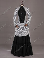 Victorian Steampunk Mary Poppins Bustle Dress Gown Women Halloween Costume 139