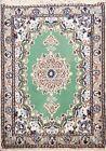 Vintage Geometric Green Nain Handmade Area Rug Traditional Oriental 2'x3' Carpet