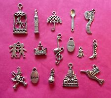 Tibetan Silver Mary Poppins Themed Mixed Charms 16 per pack