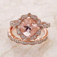 1Ct Round Cut Peach Morganite Halo Engagement Bridal Ring Set 14K Rose Gold Over