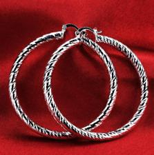 Womens 925 Sterling Silver Large 61mm Diamond-Cut Round Hoop Earrings #E114