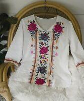 M The Farmhouse Rose Boho Embroidered Blouse Top Medium Bohemian NEW NWT Peasant