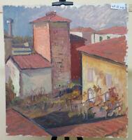 47x51 cm QUADRO VINTAGE DIPINTO AD OLIO PAESAGGIO VEDUTA DI PAESE EMILIA P32