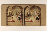 Mariage A L Chiesa c1860 UK Scena Foto Stereo Vintage Albumina Colorati