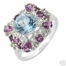 3.63 CTW RING WITH GENUINE DIAMONDS, AMETHYSTS, TOPAZES