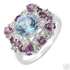 3.63 CTW RING WITH GENUINE DIAMONDS, AMETHYSTS, TOPAZES