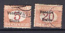 1918 OCCUPAZIONE VENEZIA GIULIA SEGNATASSE 5+20 CENTESIMI USATI D/1322